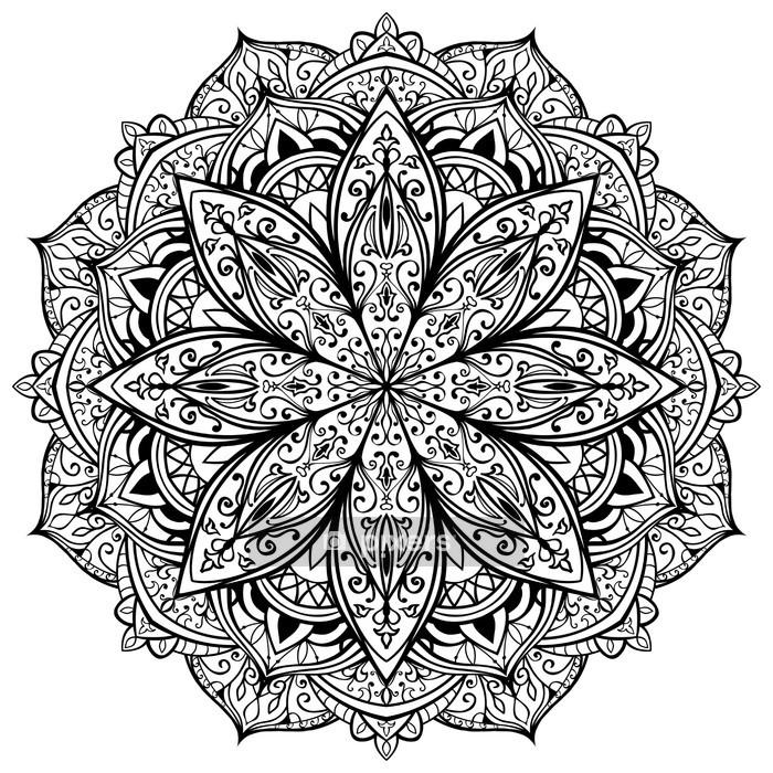 Sticker mural Vecteur, gracieuse, mandala noir - Sticker mural