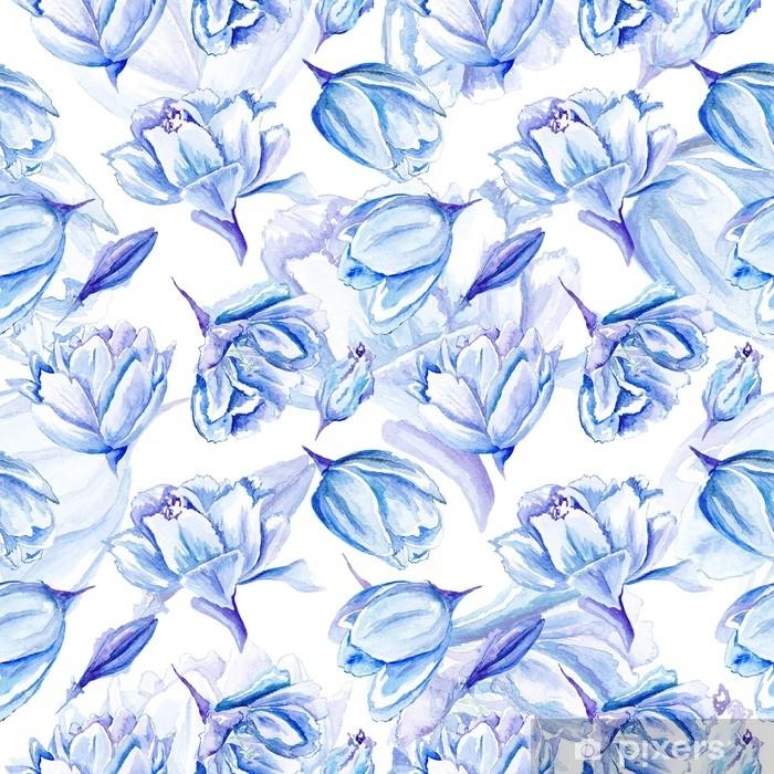 Poster Modèle de tulipe aquarelle bleue - Plantes et fleurs
