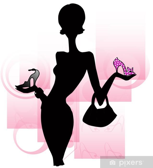 Fototapeta winylowa Sylwetka kobiety z butami - Moda