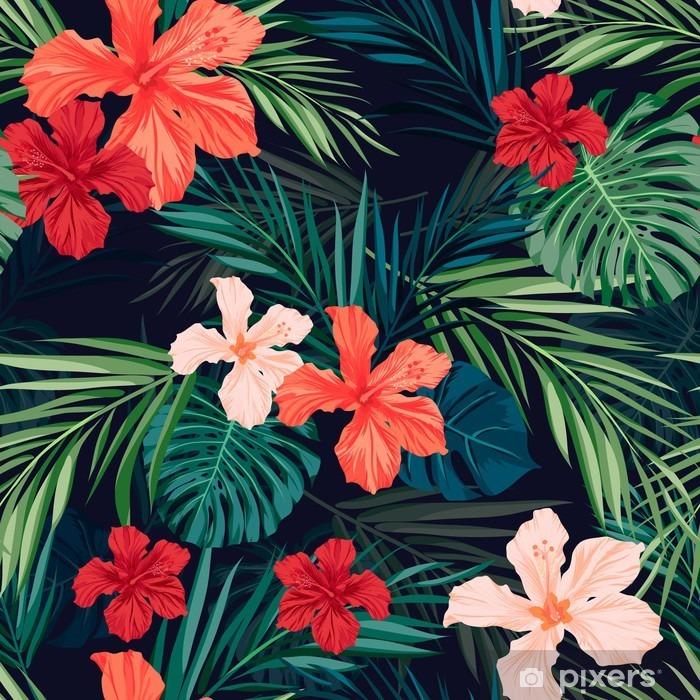 Fotomural Autoadhesivo Fondo transparente de colores tropicales brillantes con hojas y - Plantas y flores