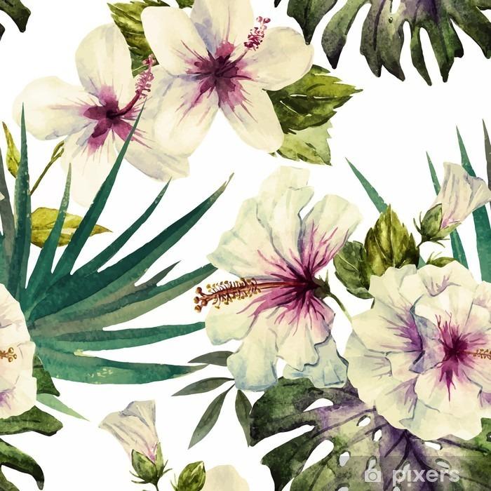 Fotomural Estándar Patrones hibisco de la acuarela - Plantas y flores