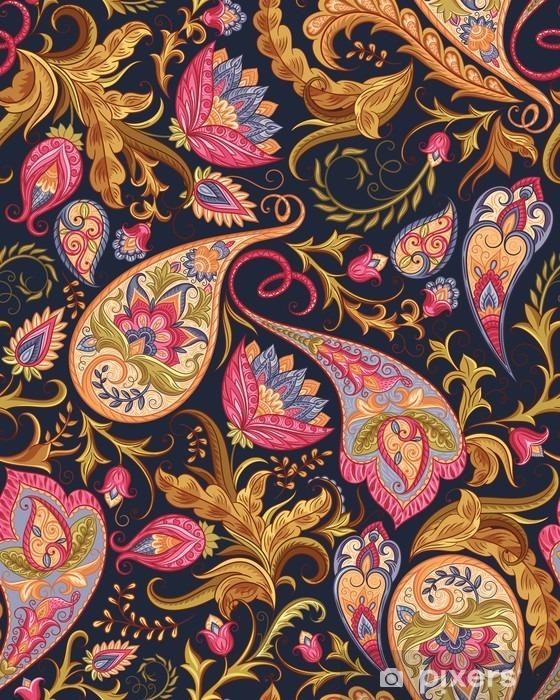 Vinil Duvar Resmi Dikişsiz şal deseni - Çiçek ve bitkiler
