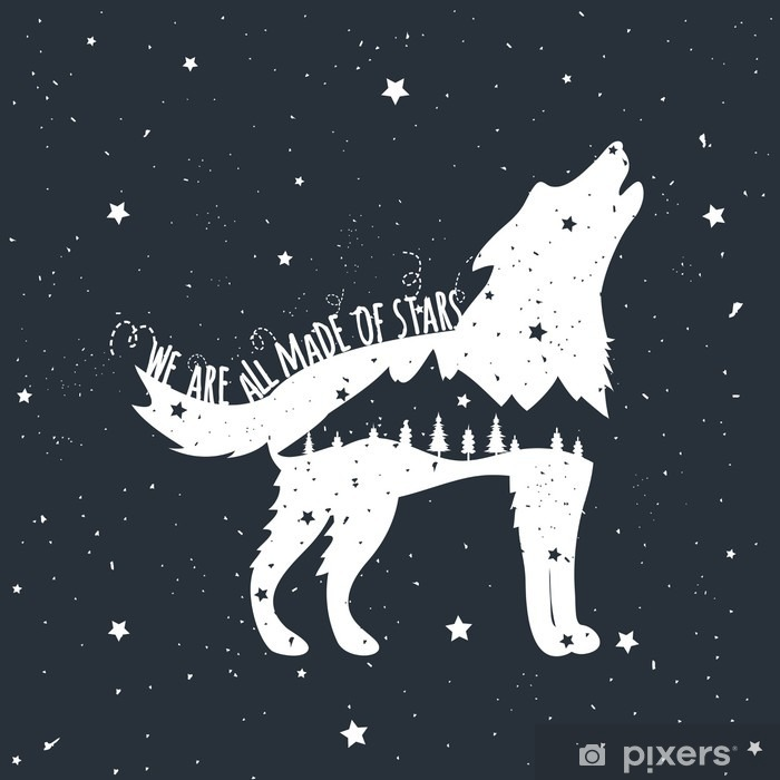 Vector illustration with howling wolf, mountains and trees Poster - Animals