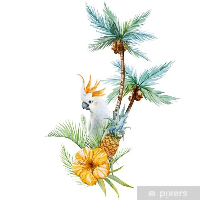 Poster Watercolor tropical palm - Fleurs