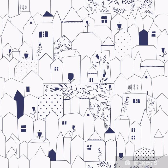 Adesivo Pixerstick Seamless pattern. Figura città in stile vintage. - Stili