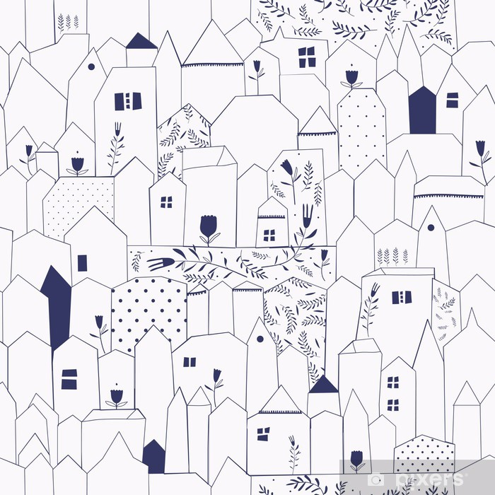 Pixerstick Sticker Naadloos patroon. Figuur steden in vintage stijl. - Stijlen
