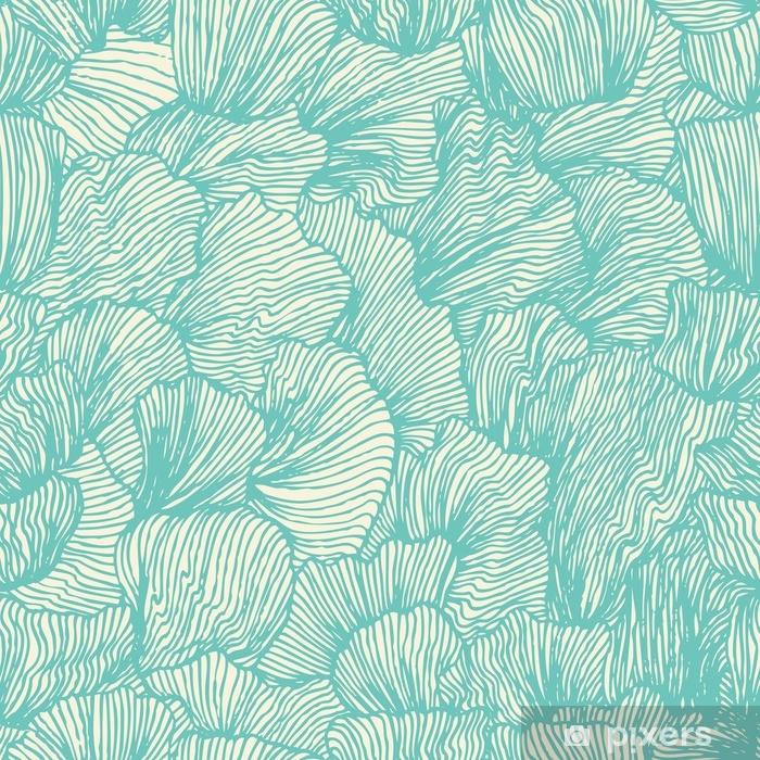 Vindu- og glassklistremerke Bølge sømløs mønster i doodle stil. sjøbakgrunn - Grafiske Ressurser