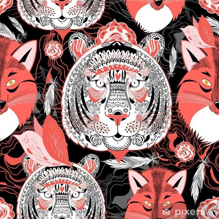 Papier peint vinyle Beau modèle portraits des tigres et renards - Animaux