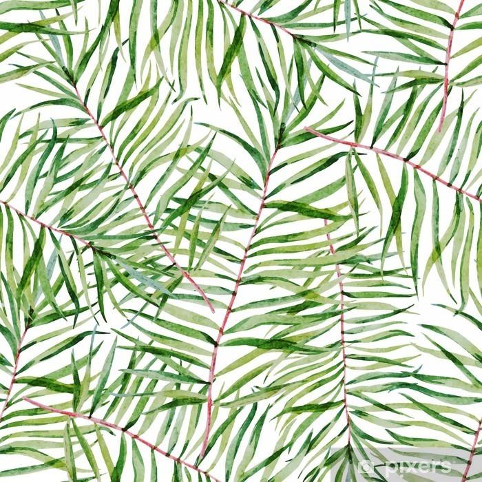 Pixerstick Sticker Waterverf het tropische doorbladert patroon - Bloemen en Planten