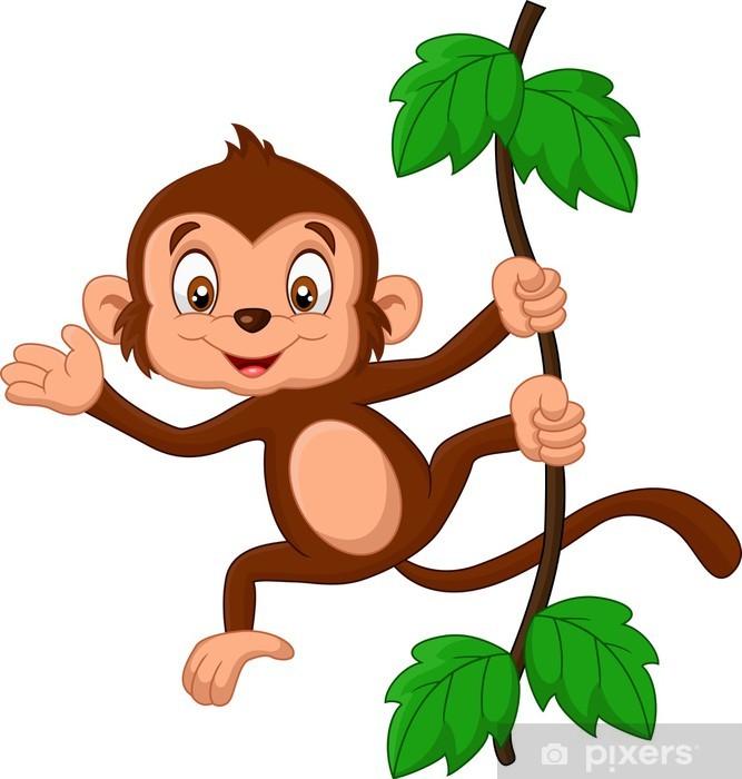 Mural De Parede Desenhos Animados Que Acena Bebe Macaco Pixers
