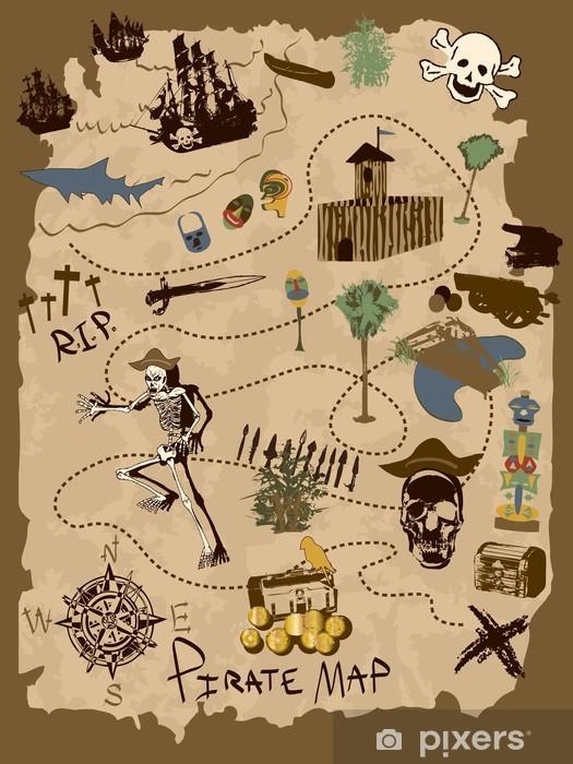 Sticker Pixerstick Pirat map - Arrière plans