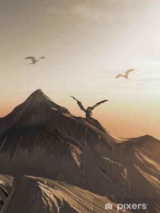 Vinylová fototapeta Dragon Peak při západu slunce, fantasy ilustrační - Vinylová fototapeta