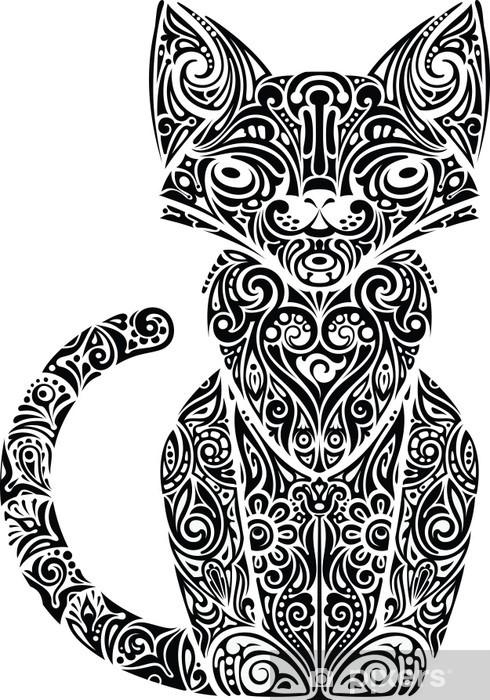 Fotomural Gato Blanco Y Negro Con Dibujos Pixers Vivimos Para