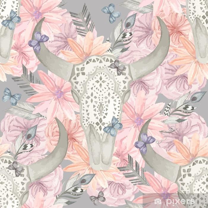 Papier peint vinyle Seamless ethnique. Crâne taureau dans les fleurs - Ressources graphiques
