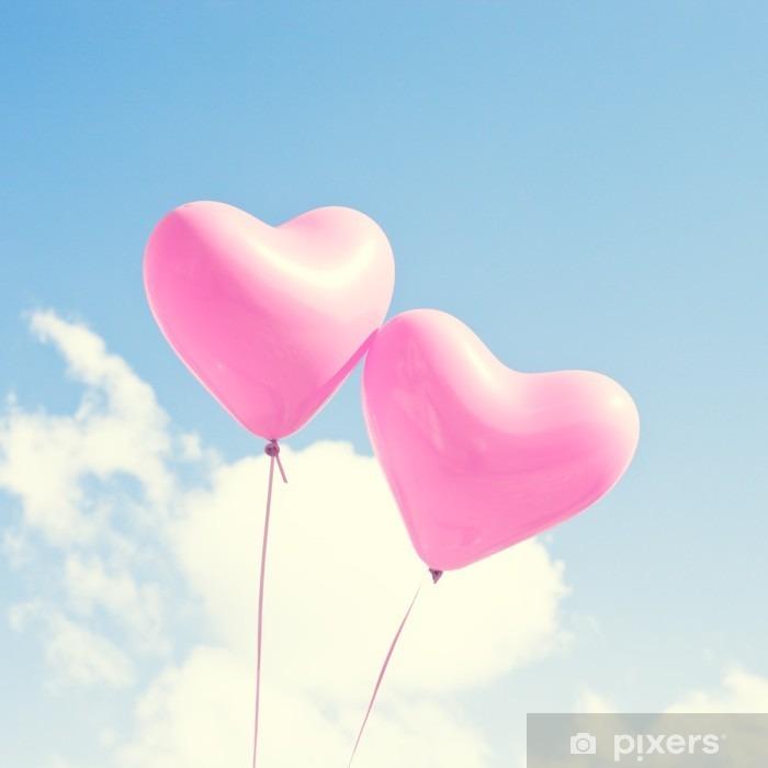 Naklejka Pixerstick Różowe serce balony - Uczucia i emocje