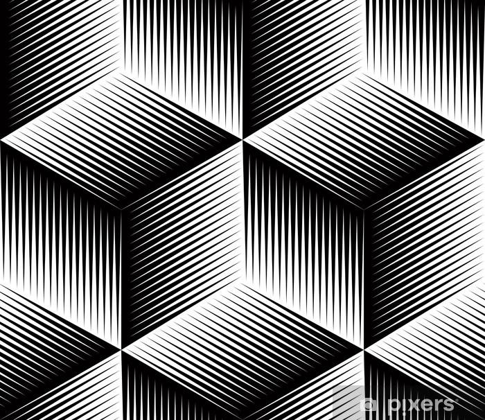 Mural de Parede em Vinil Teste padrão geométrico abstrato ilusória preto e branco sem emenda 3d. - Fundos