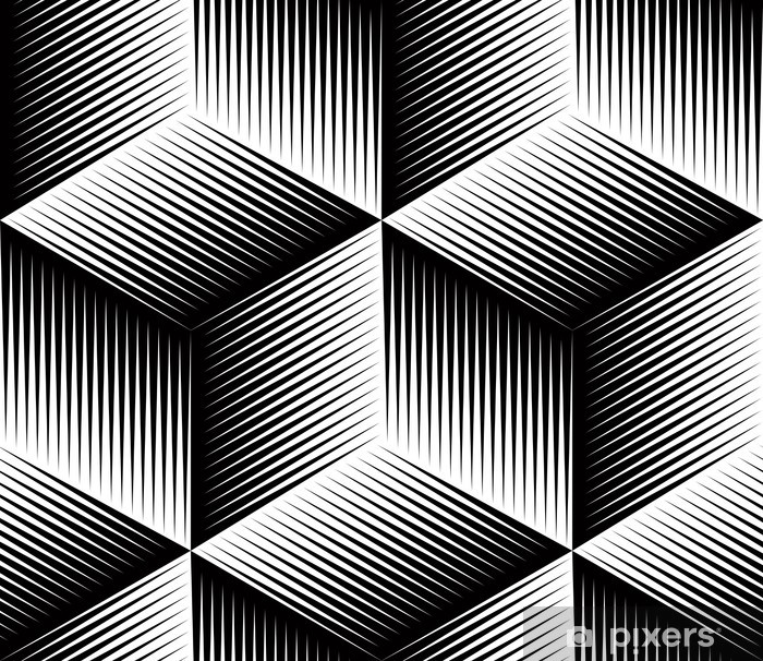 Black and white illusive abstract geometric seamless 3d pattern. Washable Wall Mural - Backgrounds