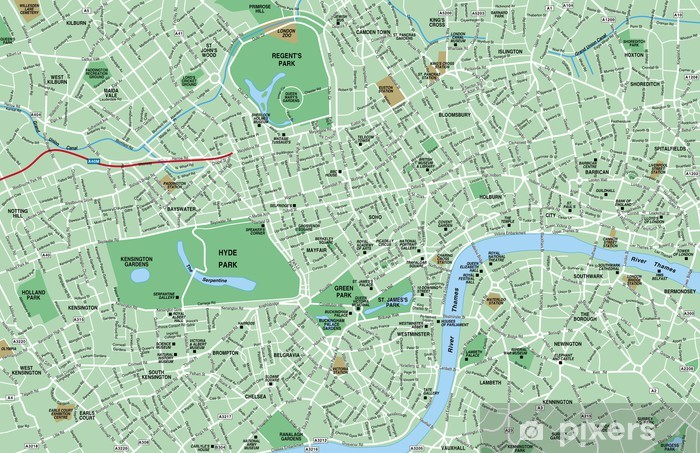 Downtown London Map.Downtown London Map Wall Mural Vinyl
