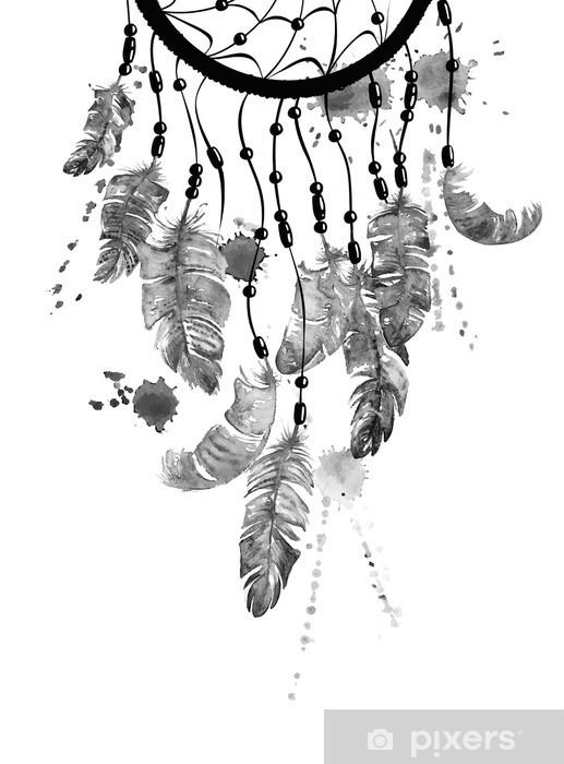Afwasbaar Fotobehang Illustratie van de waterverf met dreamcatcher - Grafische Bronnen