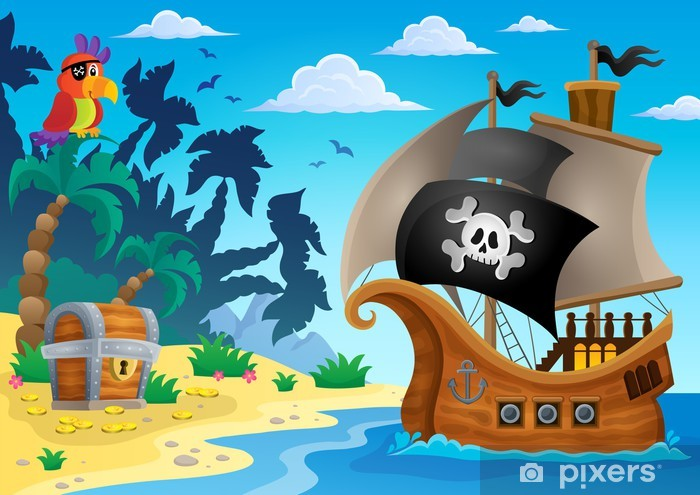Naklejka Pixerstick Statek piracki temat obrazu 5 - Transport wodny