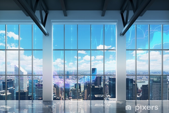 Fototapeta winylowa Współczesne biura z widokiem na Nowy Jork. wykresy finansowe są rysowane nad oknami. - iStaging