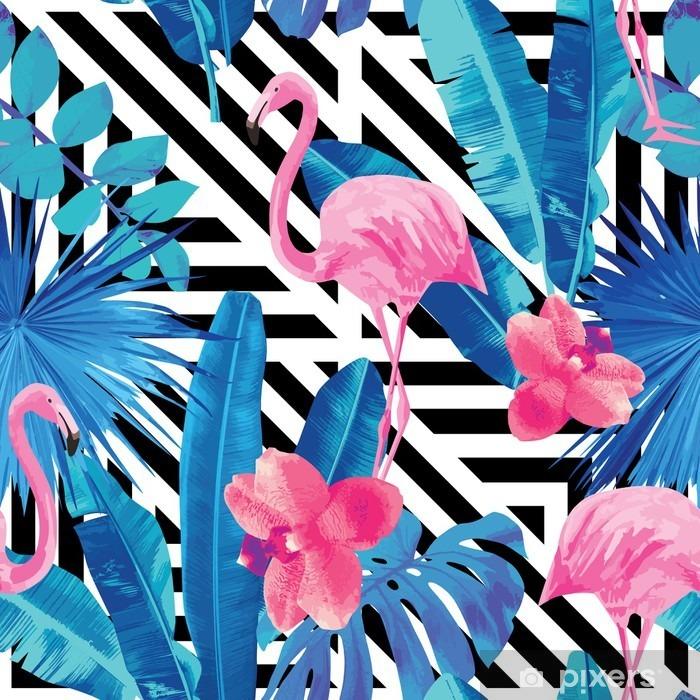 Sticker pour frigo Flamingo et orchidées modèle, fond géométrique - Animaux