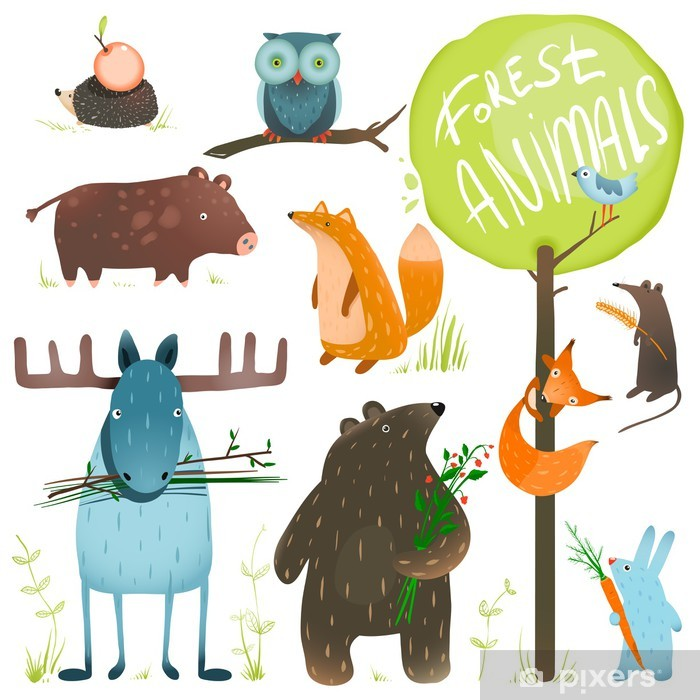 Cartoon Forest Animals Set Pixerstick Sticker - Mammals