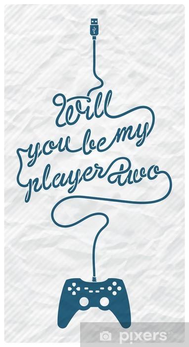 Vinilo Pixerstick Gamepad con cable en la forma de un mensaje de texto en el fondo de papel con textura - Juegos