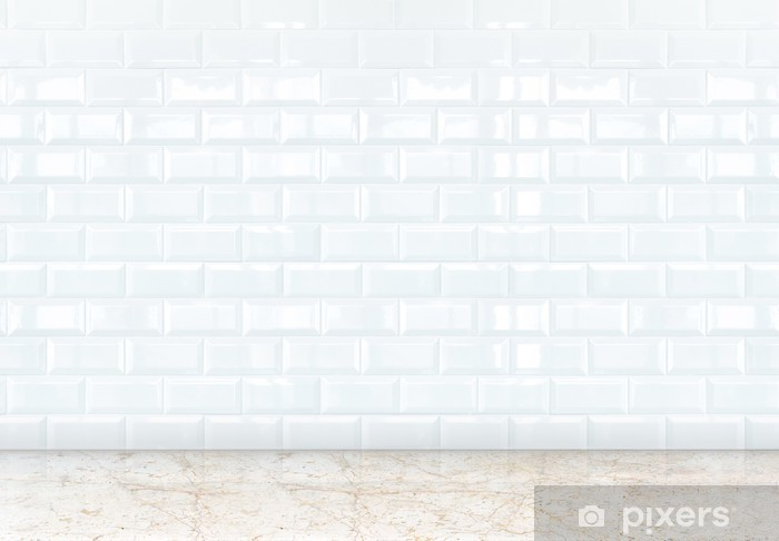 Empty Perspective Room With White Ceramic Tiles Wall And Marble Sticker Pixerstick