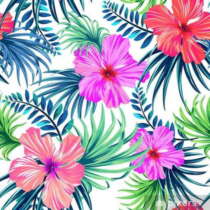 Fototapete Nahtlose Tropische Blumenmuster. Hibiskus Und