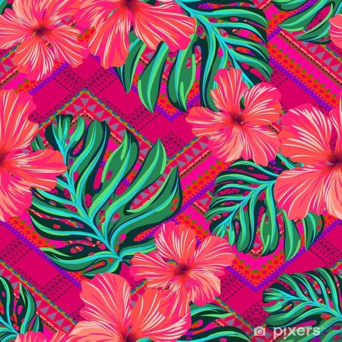 Cuscino oblungo Vector seamless con fiori e forme geometriche tribali. ibisco e monstera foglie tropicali su sfondo ornamentale. vivace design alla moda - Risorse Grafiche