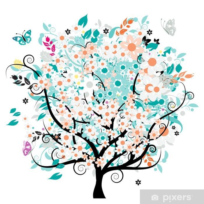 Plakat Bautiful kwiatów drzewa - Pory roku