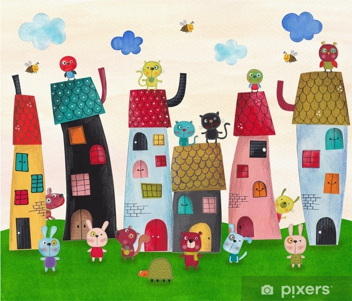 Fairy tale town. Watercolors on paper Vinyl Wall Mural - Animals