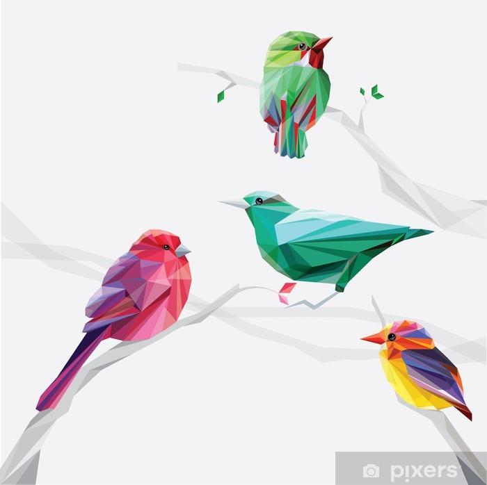 Plakát Low polygon ve stylu barevné ptáci na větve stromů stanovené sběr - Ptáci