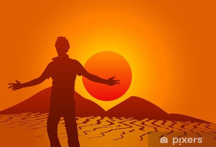 Papier peint vinyle Silhouette dans le désert - Sports d'extérieur