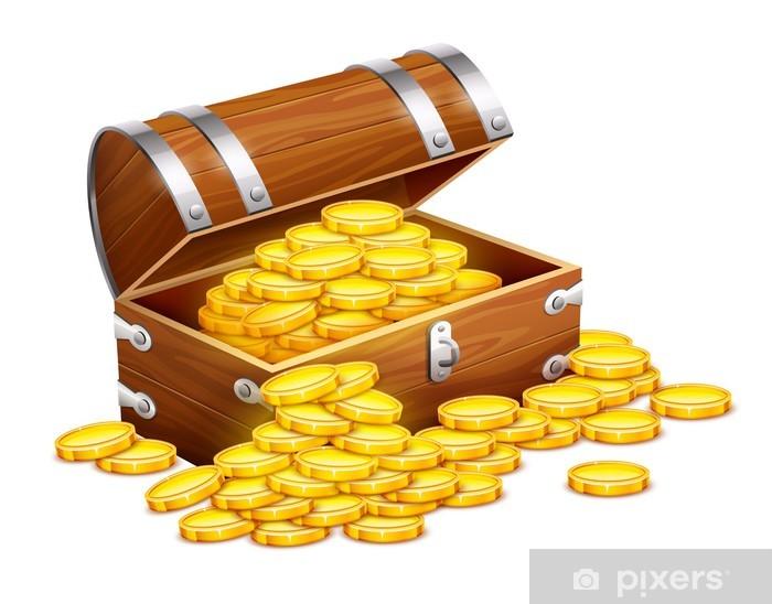 Fotomural Piratas Del Tronco Cofre Lleno De Monedas De Oro