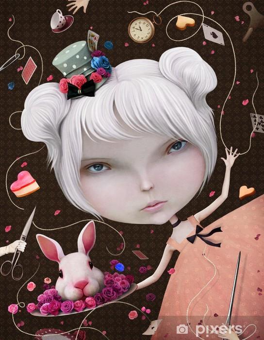 Alfombrilla de baño Ilustración o tarjeta postal con Alicia en el país - Artes y creación