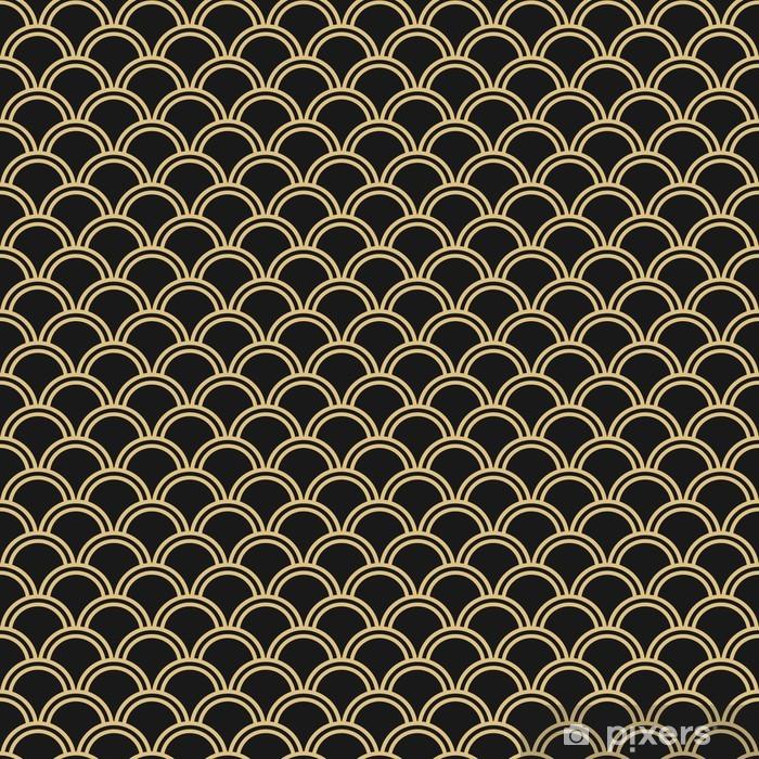 Fototapeta winylowa Japoński wzór bez szwu wektora. Tradycyjne orientalne tle fali. Czarno-złota - Tła