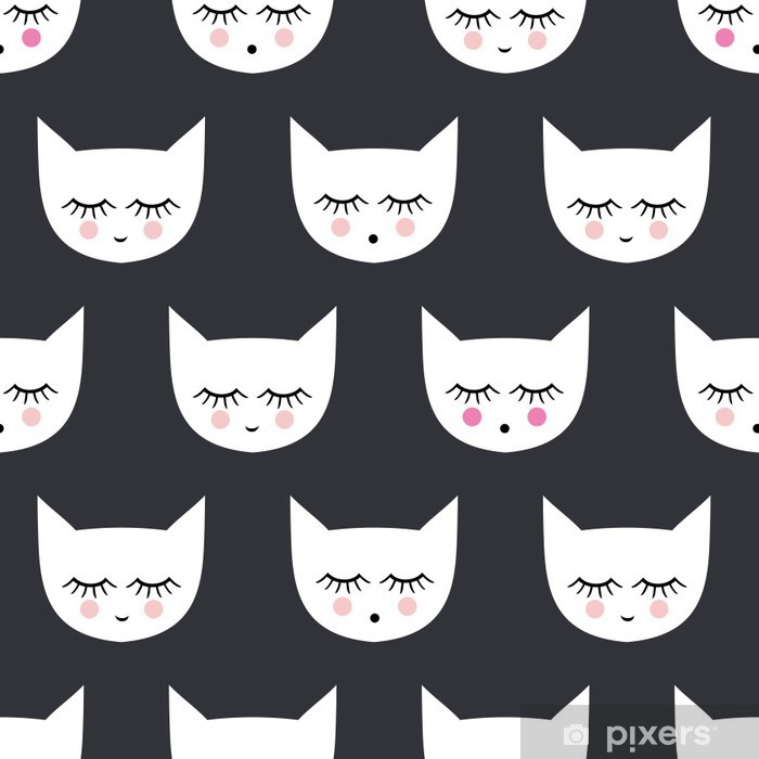 Seamless pattern with white smiling sleeping cats for kids holidays. Cute baby shower vector background. Child drawing style kitty. Pixerstick Sticker - Animals