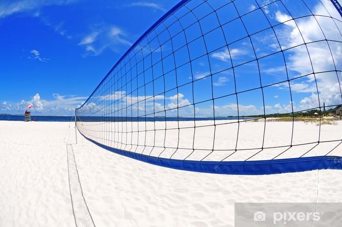Carta da Parati in Vinile Rete da pallavolo sulla spiaggia - Pallavolo