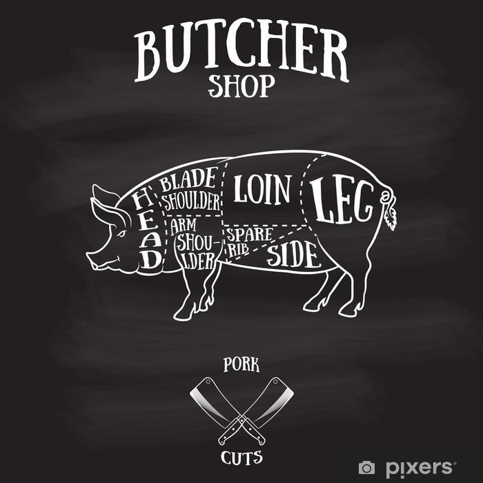 Vinilo Pixerstick Carnicero corta esquema de carne de cerdo - Carne