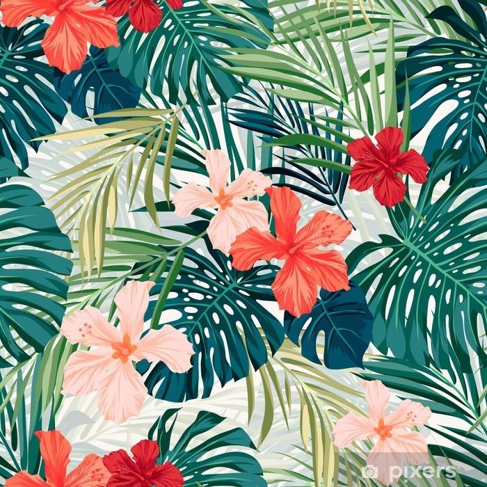 Fototapeta winylowa Jasne kolorowe tropikalnych szwu tła z liśćmi i - Rośliny i kwiaty