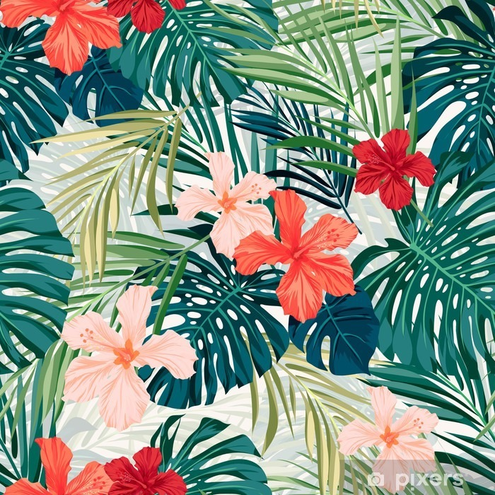 Bright colorful tropical seamless background with leaves and Vinyl Wall Mural - Plants and Flowers
