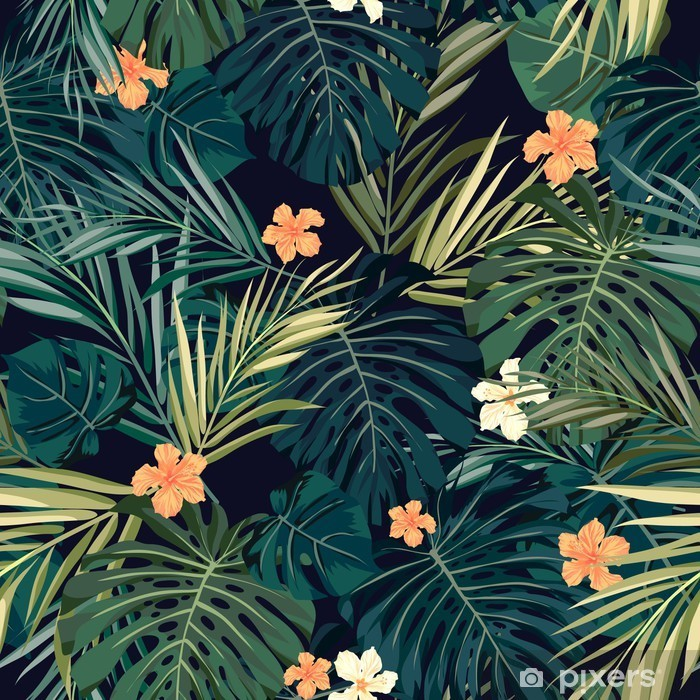 Sticker Pixerstick Bright fond transparent tropical coloré avec des feuilles et - Fleurs et plantes