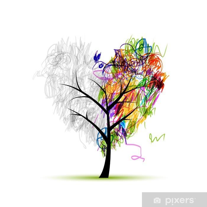 Fototapeta Srdce Tvar Stromu Kresba Tuzkou Pro Svuj Design Pixers