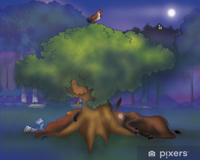 Fototapete Ein Esel Ein Hund Ein Hahn Und Eine Katze Unter Einem