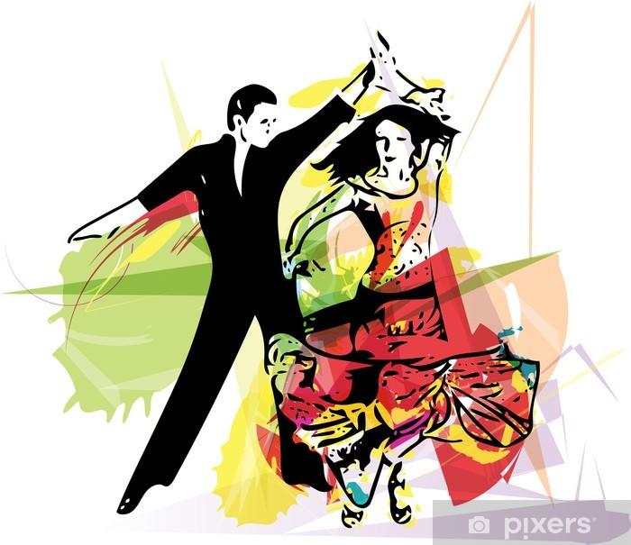 Adesivo Pixerstick Coppia di ballo latino - Coppia