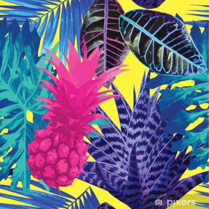 Fotomural Estándar Piña de color rosa y plantas exóticas azul de fondo sin fisuras - Plantas y flores