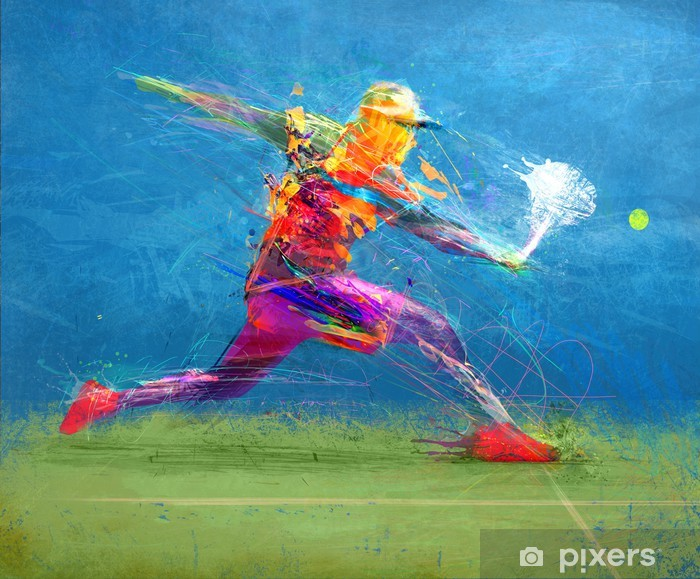 Abstract tennis player Pixerstick Sticker - Individual Sports