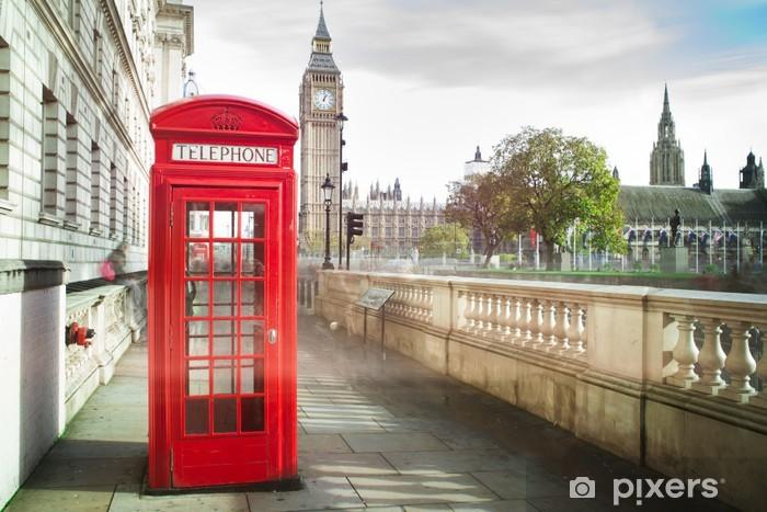Fototapeta winylowa Big Ben i czerwony telefon Kabina w Londynie - iStaging